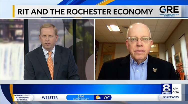 Still image from WhyROC video with RIT's President Munson
